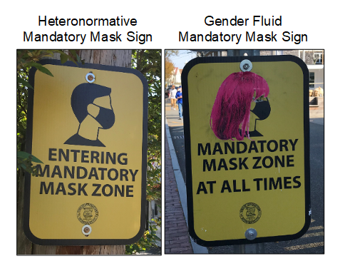 Heteronormative vs. gender fluid mandatory mask signs