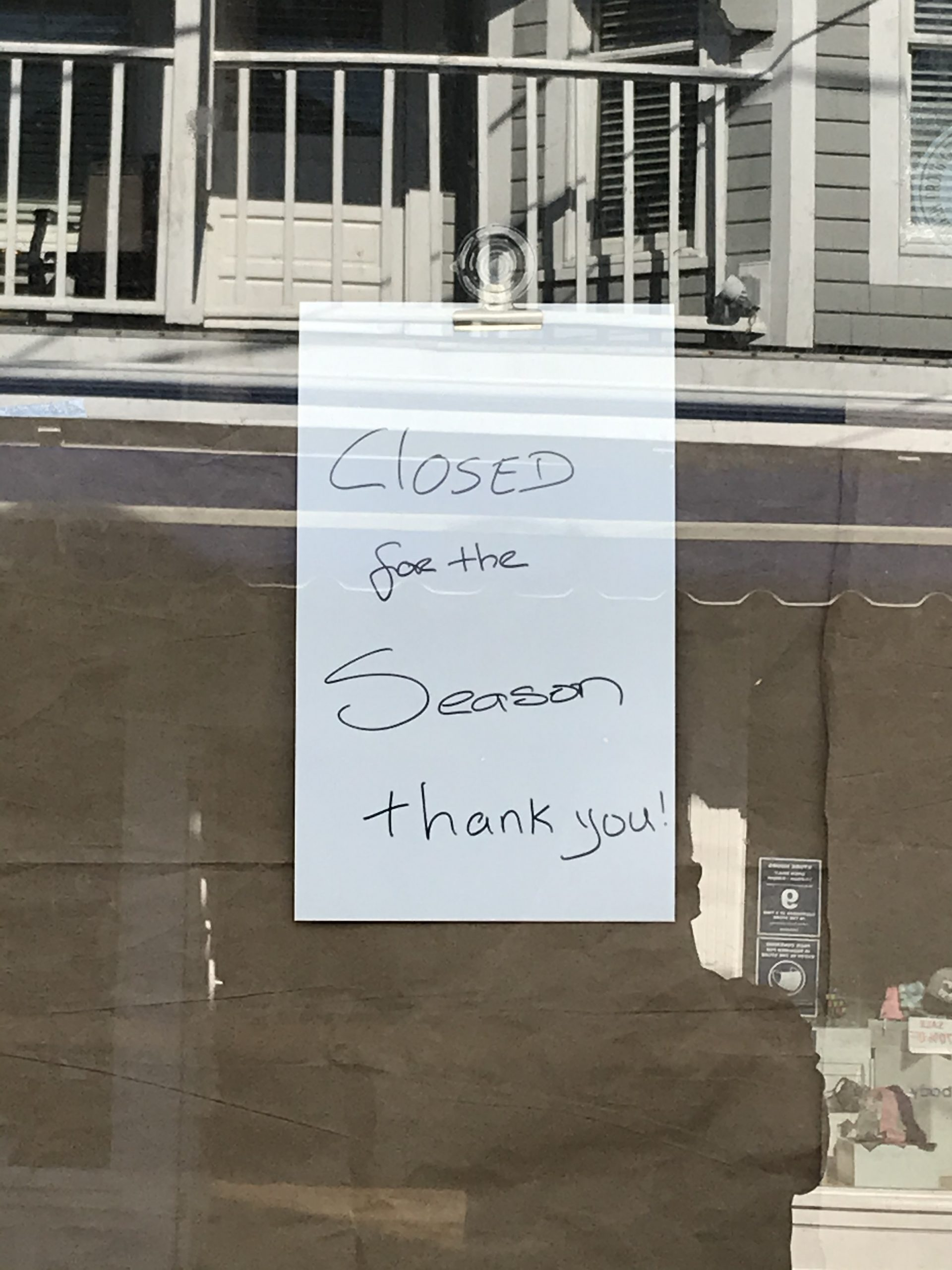 Closed for the season sign on the door of the Provincetown Portuguese Bakery