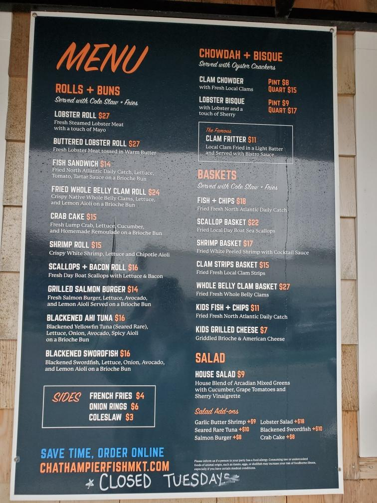 Chatham Pier menu