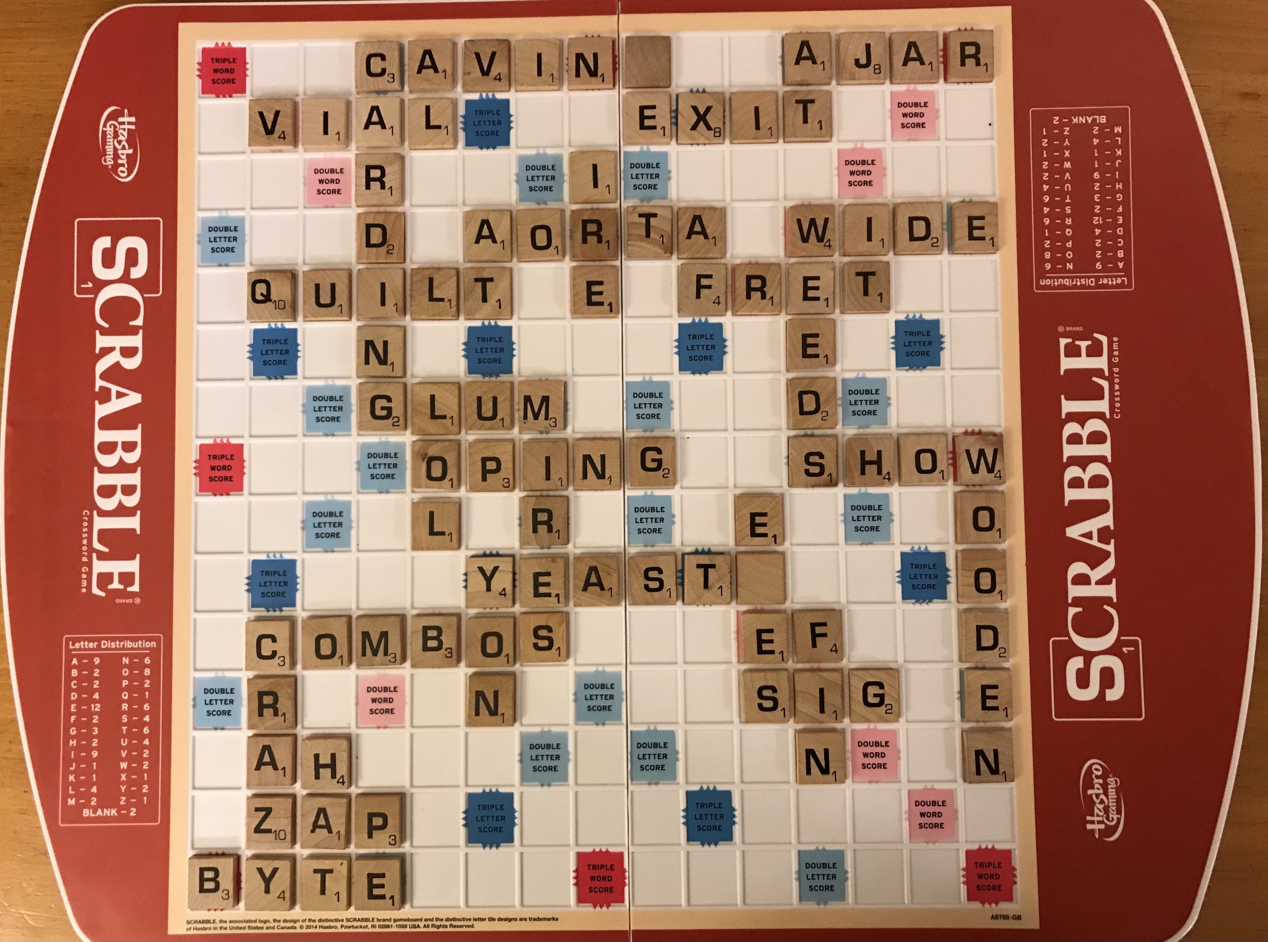 Completed Scrabble board
