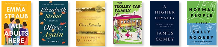 Row 3: All Adults Here | Olive, Again | Olive Kitteridge | The Trolley Car Family | A Higher Loyalty | Normal People