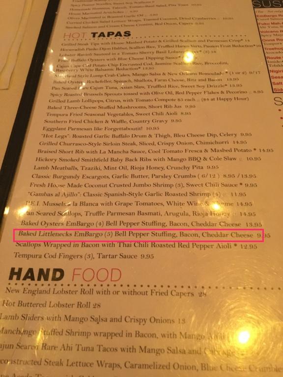 Tapas Littlenecks menu