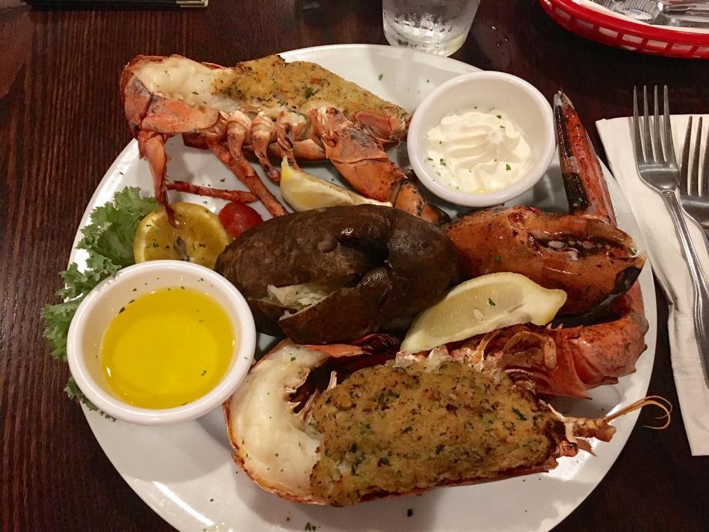 Crab-stuffed lobster