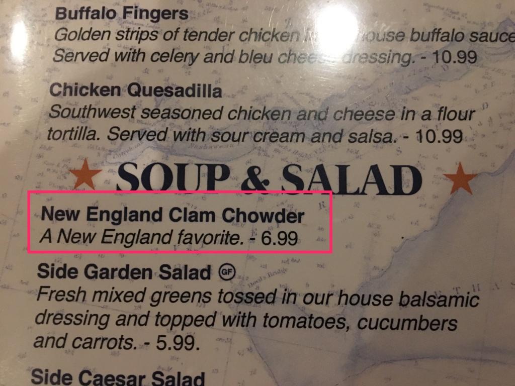Clam chowder menu description